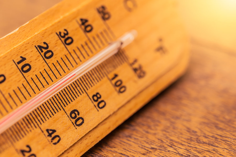 close up of a thermometer on a hot day
